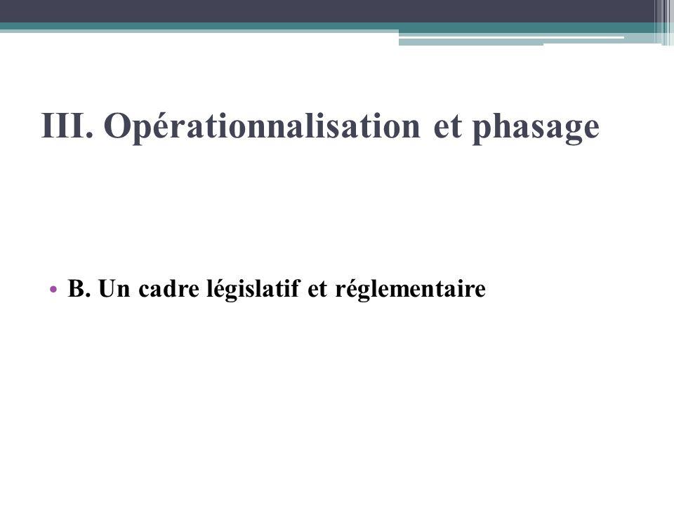 III. Opérationnalisation et phasage B. Un cadre législatif et réglementaire