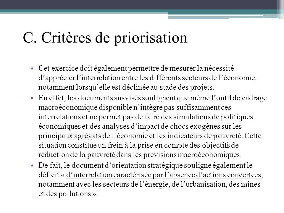 C. Critères de priorisation Cet exercice doit également permettre de mesurer la nécessité dapprécier linterrelation entre les différents secteurs de l