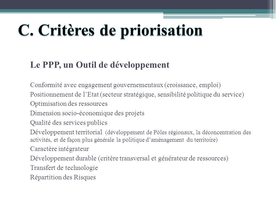 Le PPP, un Outil de développement Conformité avec engagement gouvernementaux (croissance, emploi) Positionnement de lEtat (secteur stratégique, sensib