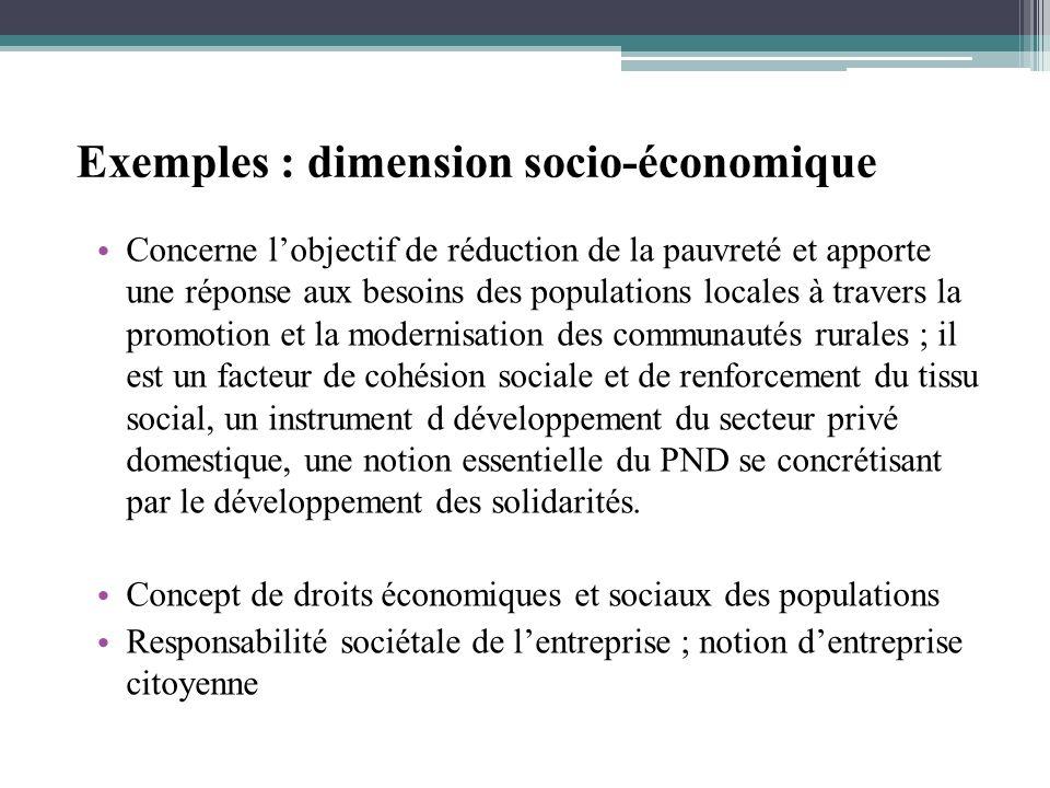 Exemples : dimension socio-économique Concerne lobjectif de réduction de la pauvreté et apporte une réponse aux besoins des populations locales à trav