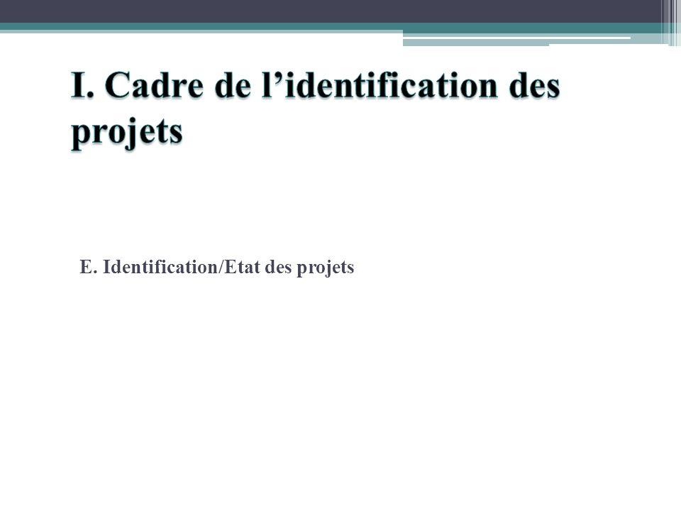 E. Identification/Etat des projets