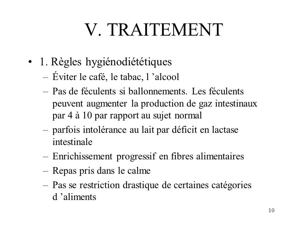 10 V. TRAITEMENT 1. Règles hygiénodiététiques –Éviter le café, le tabac, l alcool –Pas de féculents si ballonnements. Les féculents peuvent augmenter