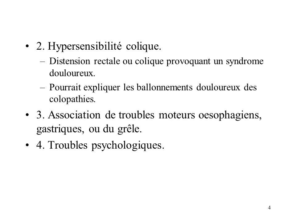 4 2. Hypersensibilité colique. –Distension rectale ou colique provoquant un syndrome douloureux. –Pourrait expliquer les ballonnements douloureux des