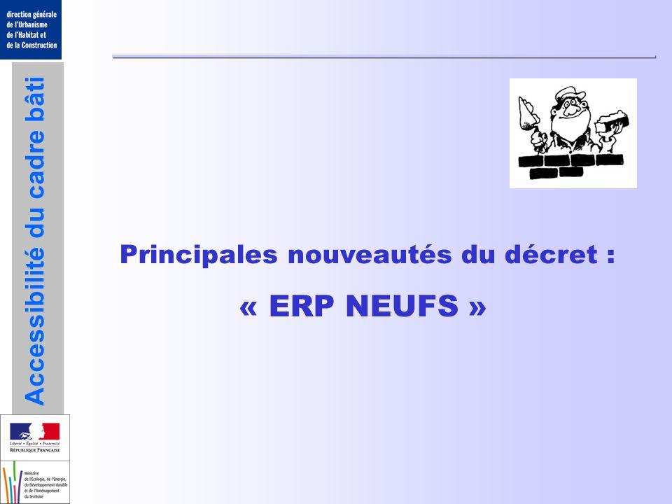 Accessibilité du cadre bâti Nouveautés ERP neufs : arrêtés Article 2 : cheminement extérieur Dimensionnements Circulations de 140cm ponctuellement ramenées à 120cm 13