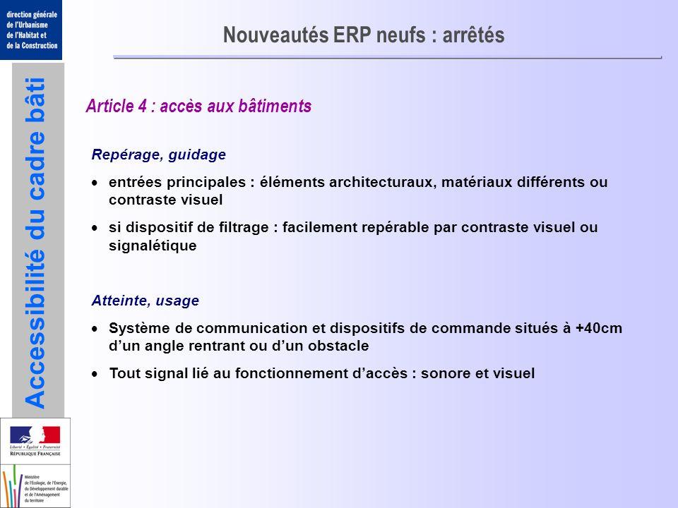 Accessibilité du cadre bâti Nouveautés ERP neufs : arrêtés Article 4 : accès aux bâtiments Repérage, guidage entrées principales : éléments architectu