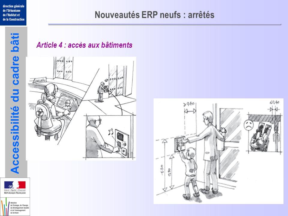 Accessibilité du cadre bâti Nouveautés ERP neufs : arrêtés Article 4 : accès aux bâtiments