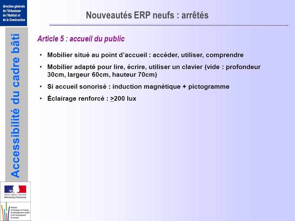 Accessibilité du cadre bâti Nouveautés ERP neufs : arrêtés Article 5 : accueil du public Mobilier situé au point daccueil : accéder, utiliser, compren