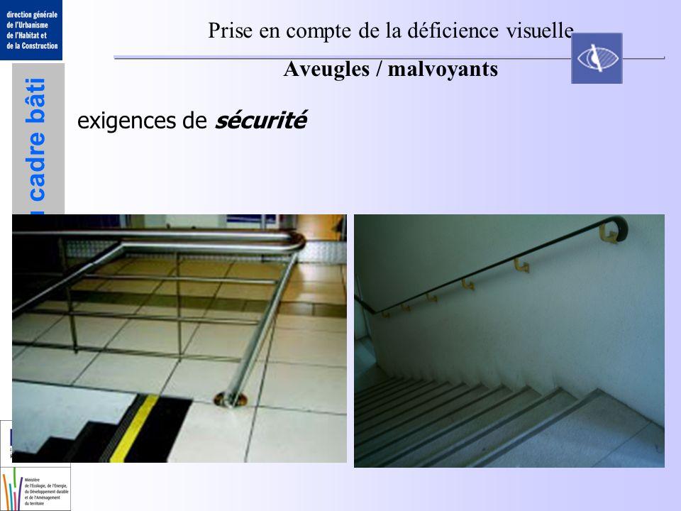 Accessibilité du cadre bâti Prise en compte de la déficience visuelle Aveugles / malvoyants exigences de sécurité