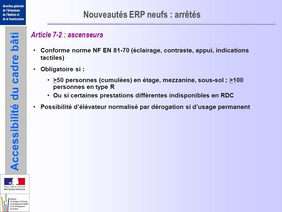 Accessibilité du cadre bâti Nouveautés ERP neufs : arrêtés Article 7-2 : ascenseurs Conforme norme NF EN 81-70 (éclairage, contraste, appui, indicatio