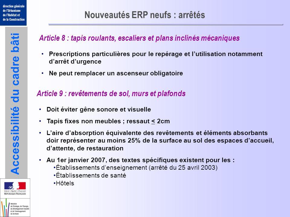 Accessibilité du cadre bâti Nouveautés ERP neufs : arrêtés Article 8 : tapis roulants, escaliers et plans inclinés mécaniques Prescriptions particuliè
