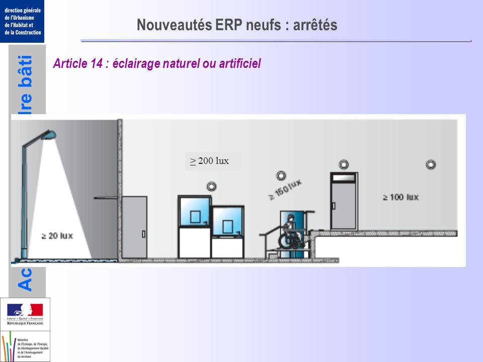 Accessibilité du cadre bâti Nouveautés ERP neufs : arrêtés Article 14 : éclairage naturel ou artificiel > 200 lux