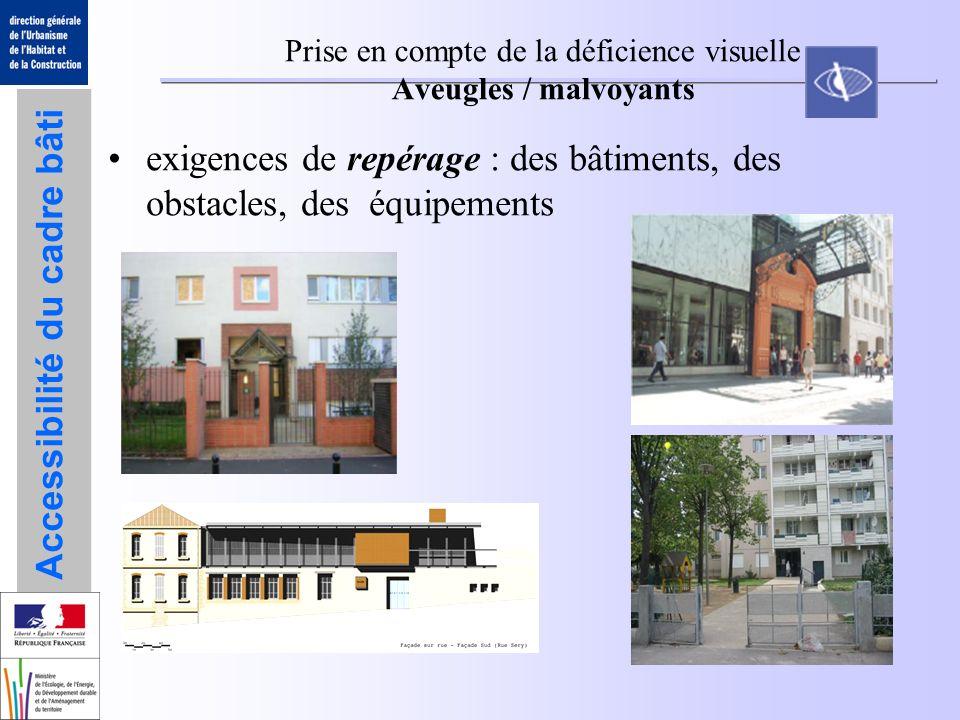 Accessibilité du cadre bâti Prise en compte de la déficience visuelle Aveugles / malvoyants exigences de repérage : des bâtiments, des obstacles, des