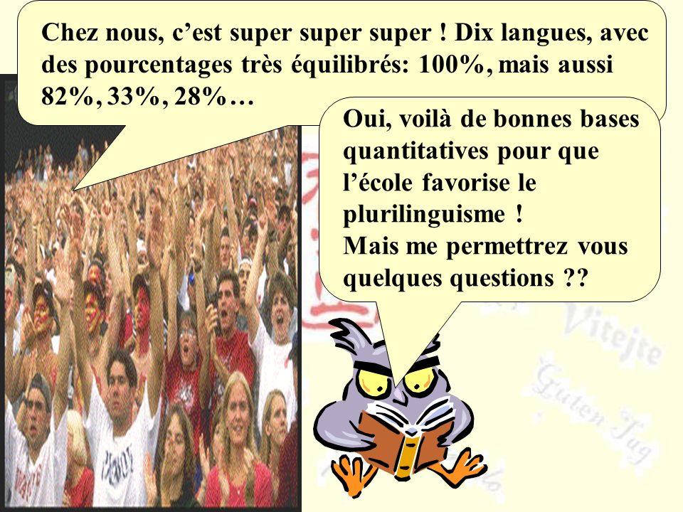Chez nous, cest super super super ! Dix langues, avec des pourcentages très équilibrés: 100%, mais aussi 82%, 33%, 28%… Oui, voilà de bonnes bases qua