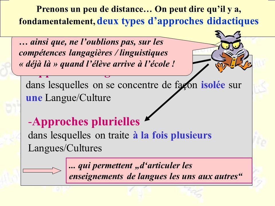 -Approches singulières dans lesquelles on se concentre de façon isolée sur une Langue/Culture -Approches plurielles dans lesquelles on traite à la fois plusieurs Langues/Cultures...