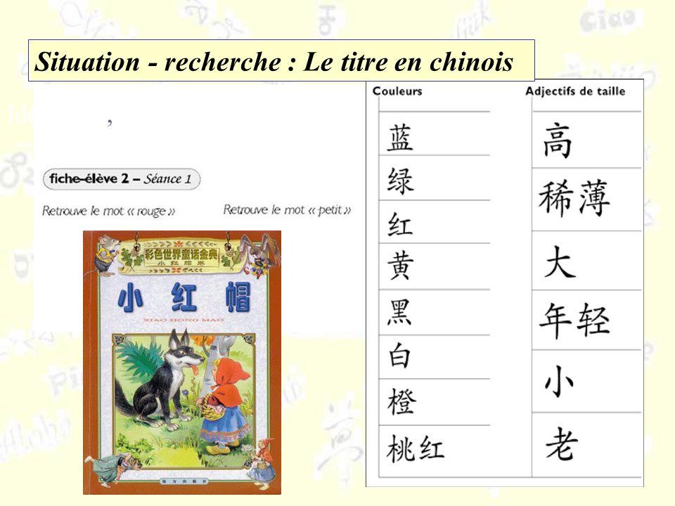 Identifier,,repérer, sélectionner Situation - recherche : Le titre en chinois