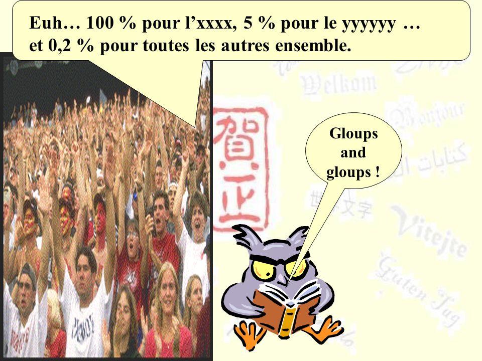 Euh… 100 % pour lxxxx, 5 % pour le yyyyyy … et 0,2 % pour toutes les autres ensemble. Gloups and gloups !