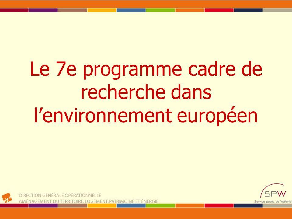 Le 7e programme cadre de recherche dans lenvironnement européen