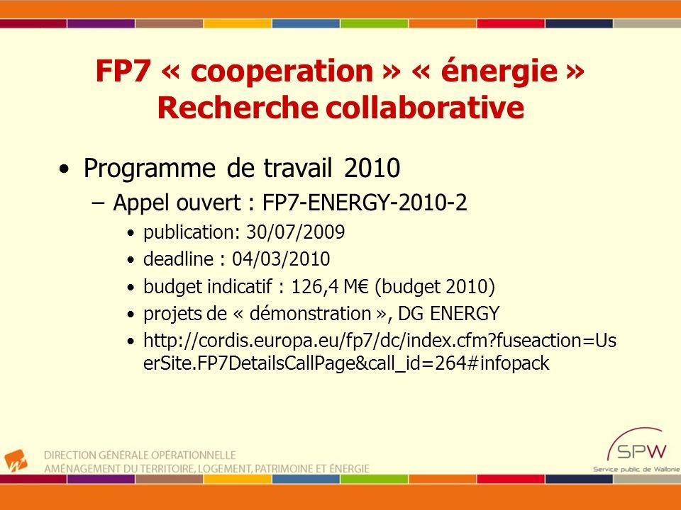 FP7 « cooperation » « énergie » Recherche collaborative Programme de travail 2010 –Appel ouvert : FP7-ENERGY-2010-2 publication: 30/07/2009 deadline :