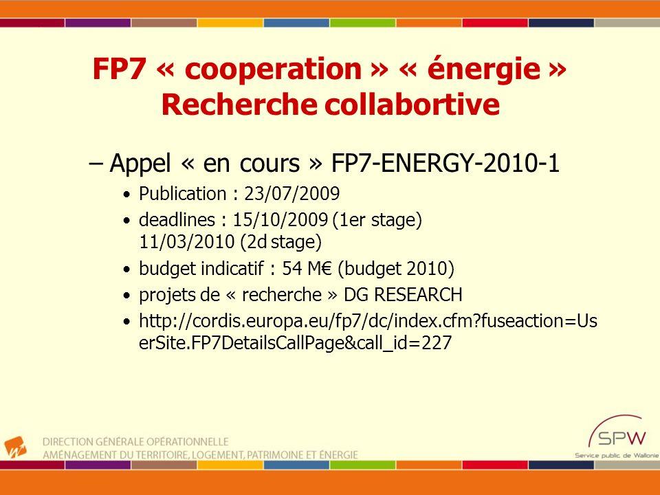 FP7 « cooperation » « énergie » Recherche collabortive –Appel « en cours » FP7-ENERGY-2010-1 Publication : 23/07/2009 deadlines : 15/10/2009 (1er stag