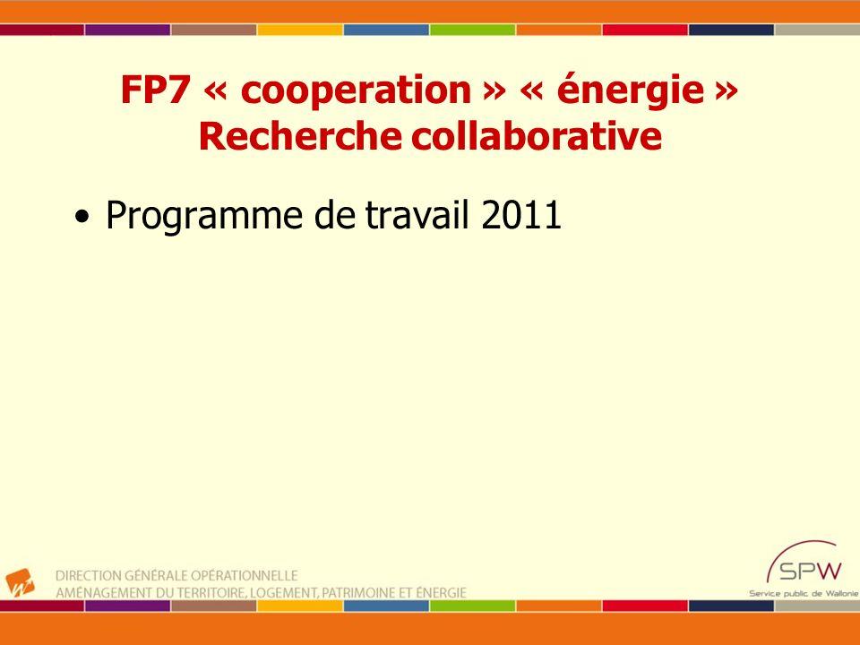 FP7 « cooperation » « énergie » Recherche collaborative Programme de travail 2011