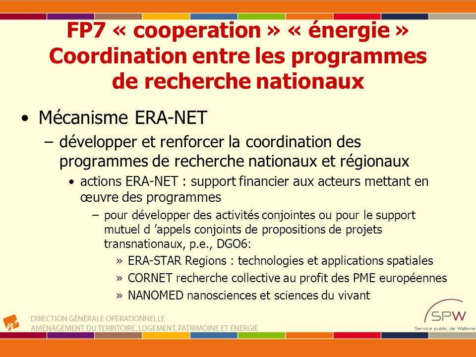 FP7 « cooperation » « énergie » Coordination entre les programmes de recherche nationaux Mécanisme ERA-NET –développer et renforcer la coordination de
