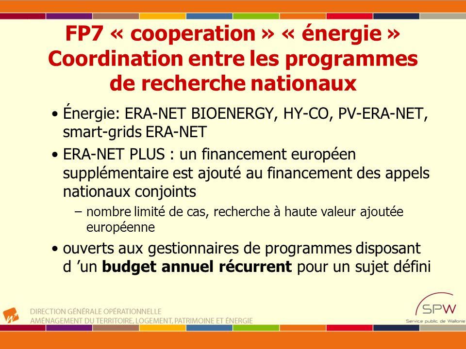 FP7 « cooperation » « énergie » Coordination entre les programmes de recherche nationaux Énergie: ERA-NET BIOENERGY, HY-CO, PV-ERA-NET, smart-grids ER
