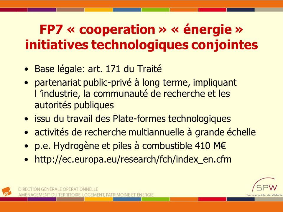 FP7 « cooperation » « énergie » initiatives technologiques conjointes Base légale: art. 171 du Traité partenariat public-privé à long terme, impliquan