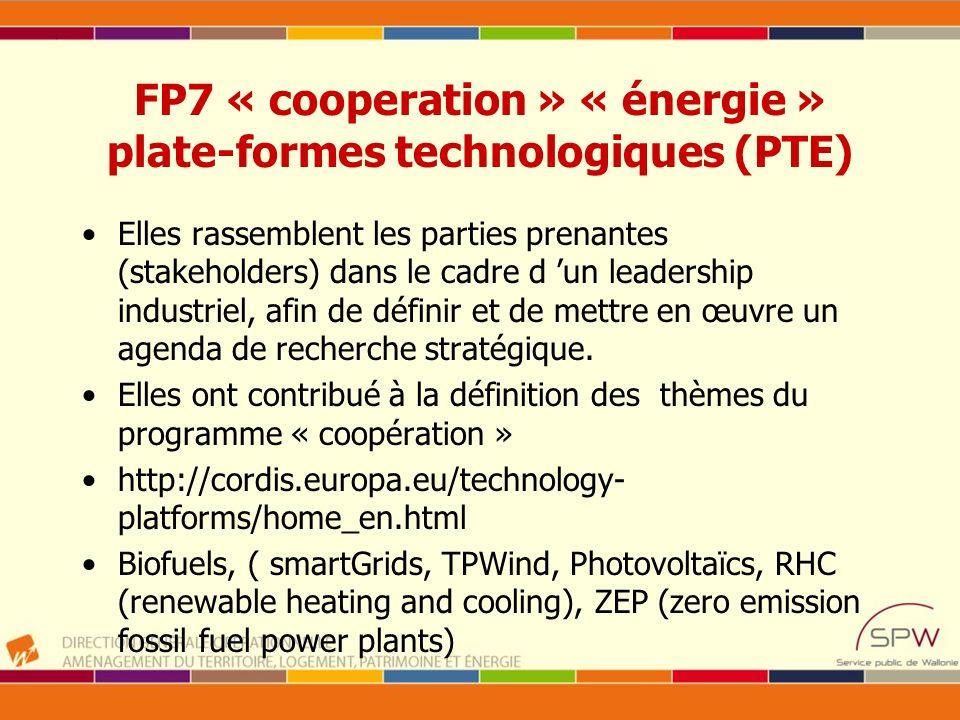 FP7 « cooperation » « énergie » plate-formes technologiques (PTE) Elles rassemblent les parties prenantes (stakeholders) dans le cadre d un leadership