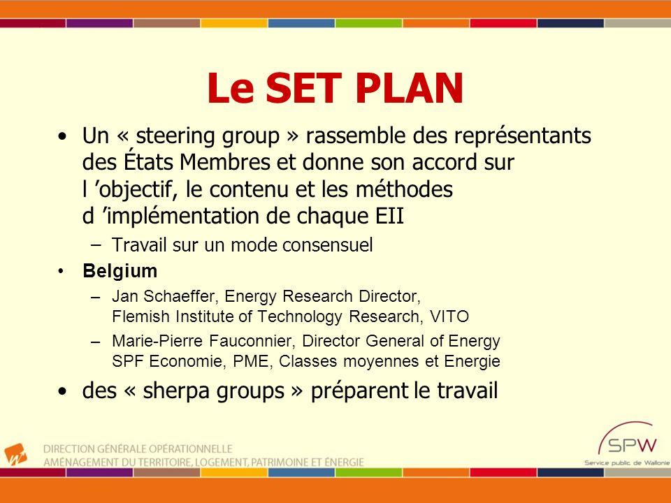 Le SET PLAN Un « steering group » rassemble des représentants des États Membres et donne son accord sur l objectif, le contenu et les méthodes d implé