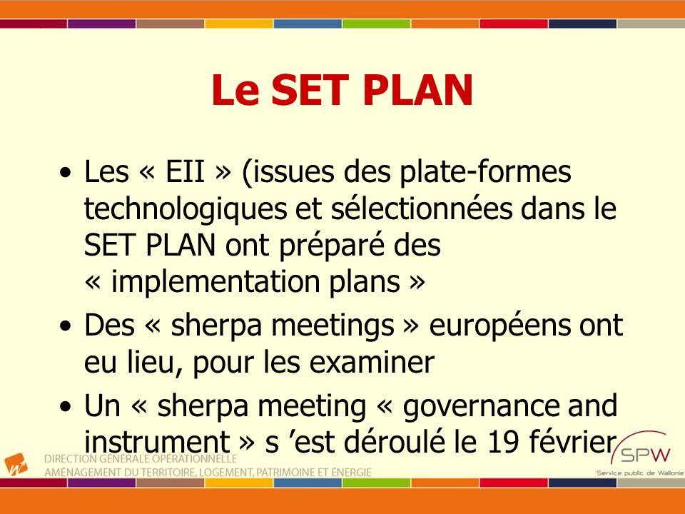 Le SET PLAN Les « EII » (issues des plate-formes technologiques et sélectionnées dans le SET PLAN ont préparé des « implementation plans » Des « sherp