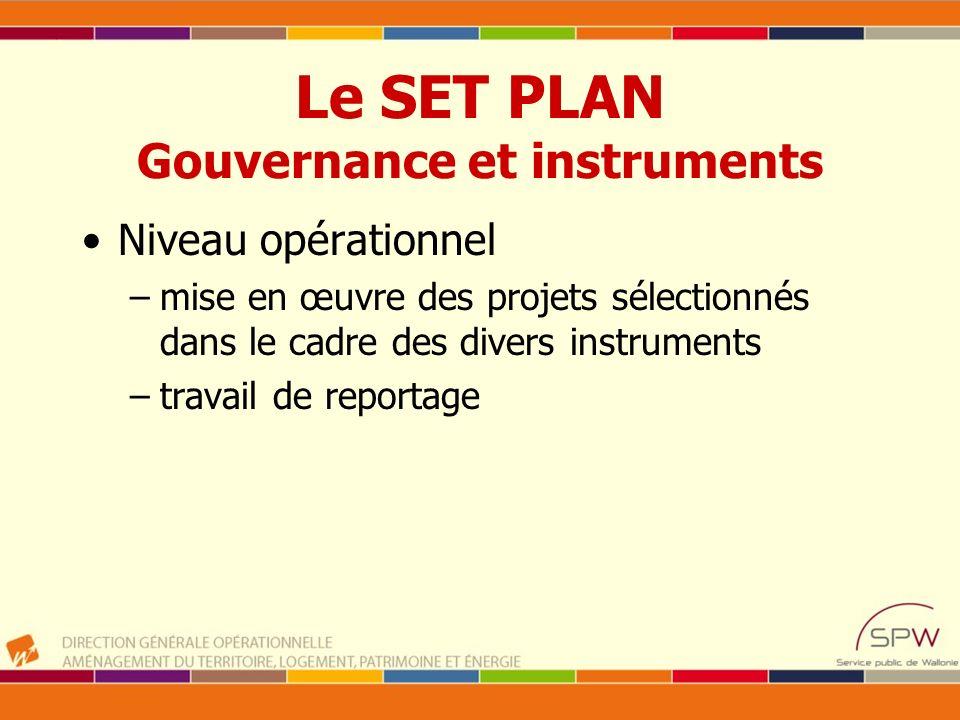 Le SET PLAN Gouvernance et instruments Niveau opérationnel –mise en œuvre des projets sélectionnés dans le cadre des divers instruments –travail de re
