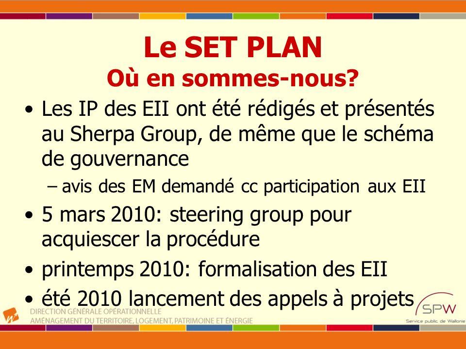 Le SET PLAN Où en sommes-nous? Les IP des EII ont été rédigés et présentés au Sherpa Group, de même que le schéma de gouvernance –avis des EM demandé