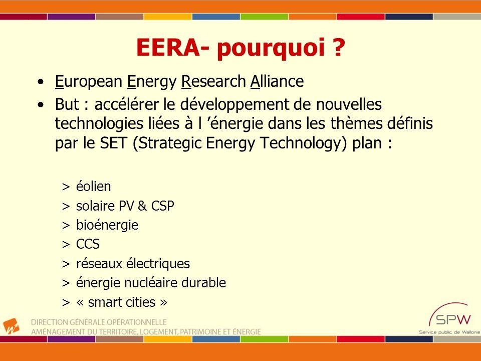 EERA- pourquoi ? European Energy Research Alliance But : accélérer le développement de nouvelles technologies liées à l énergie dans les thèmes défini