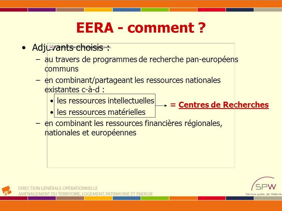 EERA - comment ? Adjuvants choisis : –au travers de programmes de recherche pan-européens communs –en combinant/partageant les ressources nationales e