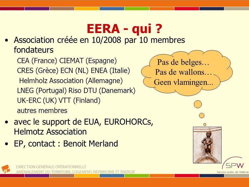 EERA - qui ? Association créée en 10/2008 par 10 membres fondateurs CEA (France) CIEMAT (Espagne) CRES (Grèce) ECN (NL) ENEA (Italie) Helmholz Associa