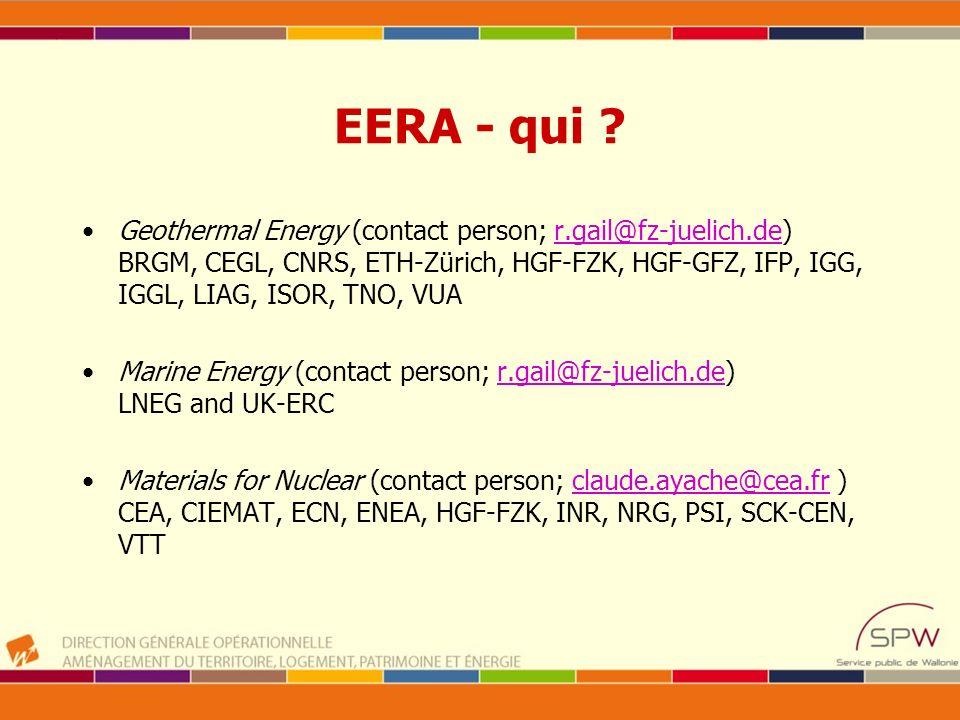 EERA - qui ? Geothermal Energy (contact person; r.gail@fz-juelich.de) BRGM, CEGL, CNRS, ETH-Zürich, HGF-FZK, HGF-GFZ, IFP, IGG, IGGL, LIAG, ISOR, TNO,