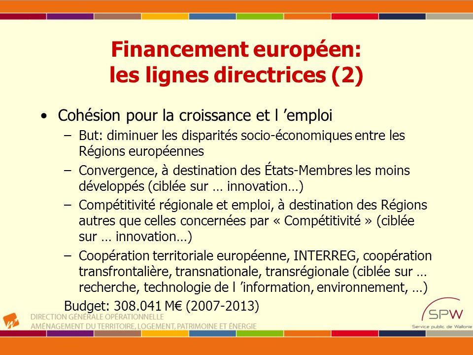 Financement européen: les lignes directrices (2) Cohésion pour la croissance et l emploi –But: diminuer les disparités socio-économiques entre les Rég