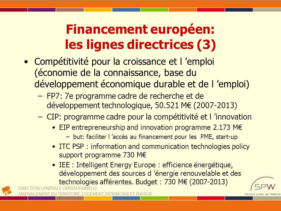 Financement européen: les lignes directrices (3) Compétitivité pour la croissance et l emploi (économie de la connaissance, base du développement écon