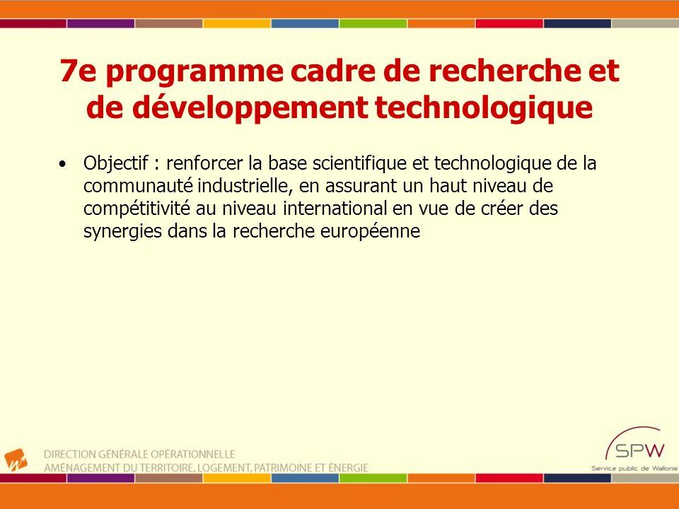 7e programme cadre de recherche et de développement technologique 4 catégories (budgets 2007-2013) –Coopération: collaboration transnationale de recherche 32.413 M –Ideas : activités de recherche exploratoire menées à l initiative des chercheurs eux-mêmes, (Conseil européen de la recherche) 7.460 M –People : formation, mobilité et soutien à la carrière des chercheurs (Marie Curie) Budget : 4.728 M –Capacities : améliorer les capacités de recherche et d innovation en Europe et d assurer leur utilisation optimale Budget : 4.217 M EURATOM : 2.751 M fusion et fission nucléaire JRC Joint Research Centre : support tehn.