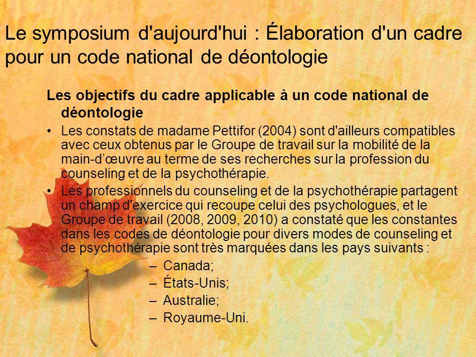 Le symposium d'aujourd'hui : Élaboration d'un cadre pour un code national de déontologie Les objectifs du cadre applicable à un code national de déont