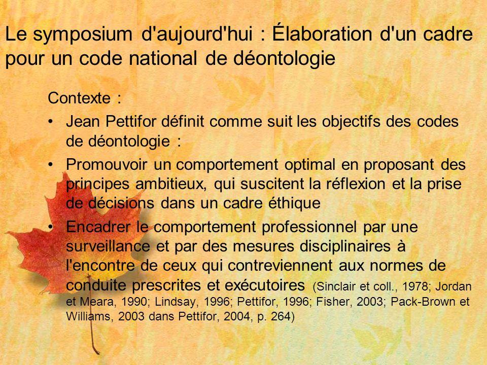 Le symposium d'aujourd'hui : Élaboration d'un cadre pour un code national de déontologie Contexte : Jean Pettifor définit comme suit les objectifs des