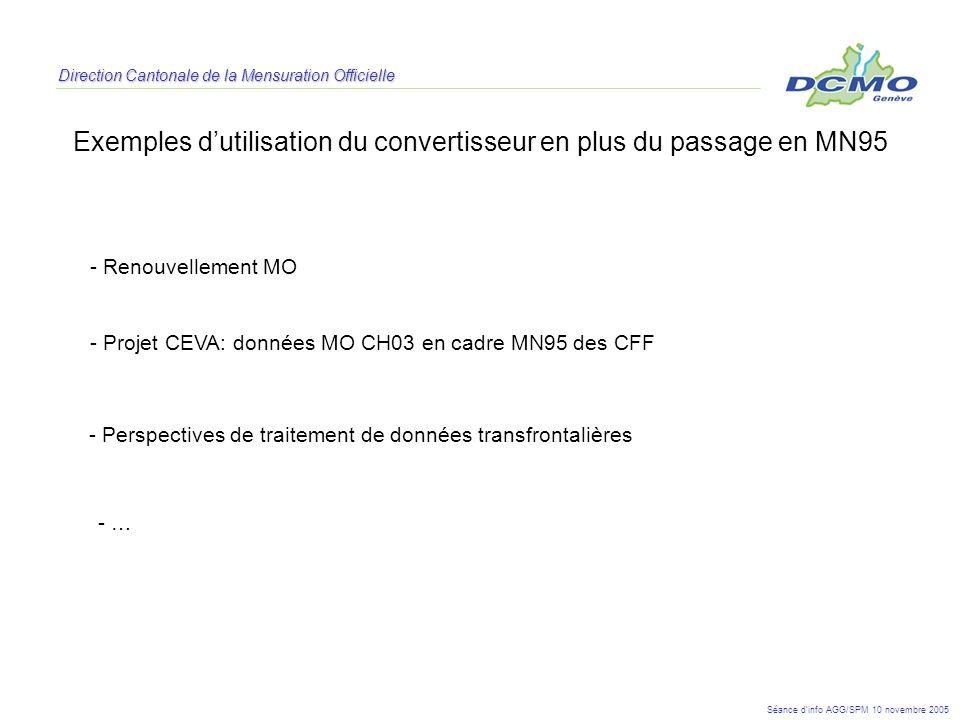 Direction Cantonale de la Mensuration Officielle Exemples dutilisation du convertisseur en plus du passage en MN95 - Projet CEVA: données MO CH03 en c