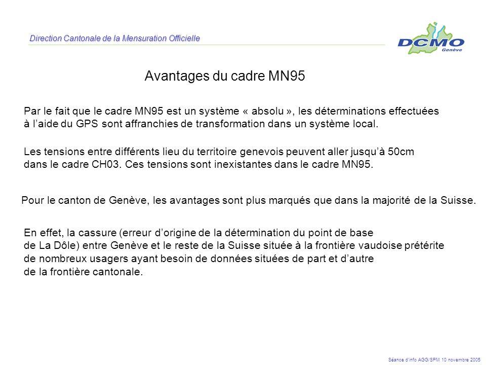 Direction Cantonale de la Mensuration Officielle Avantages du cadre MN95 Pour le canton de Genève, les avantages sont plus marqués que dans la majorit