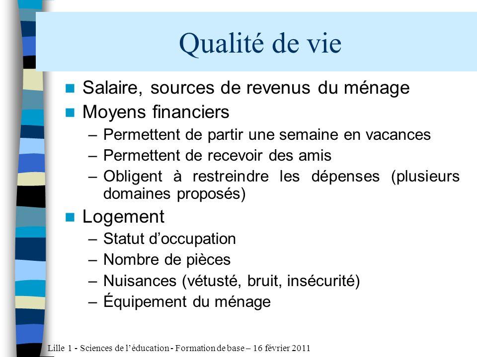 Lille 1 - Sciences de léducation - Formation de base – 16 février 2011 Enfance et scolarité difficiles, difficultés moindres (10%)