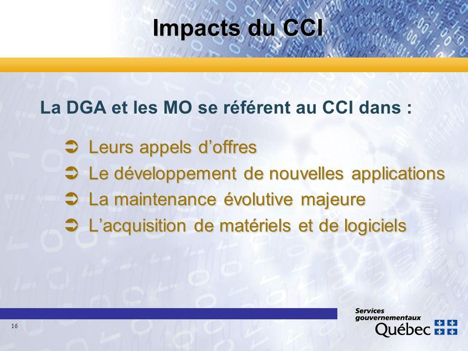 Impacts du CCI La DGA et les MO se référent au CCI dans : ÜLeurs appels doffres ÜLe développement de nouvelles applications ÜLa maintenance évolutive