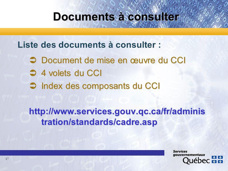 Documents à consulter Liste des documents à consulter : ÜDocument de mise en œuvre du CCI Ü4 volets du CCI ÜIndex des composants du CCI http://www.ser