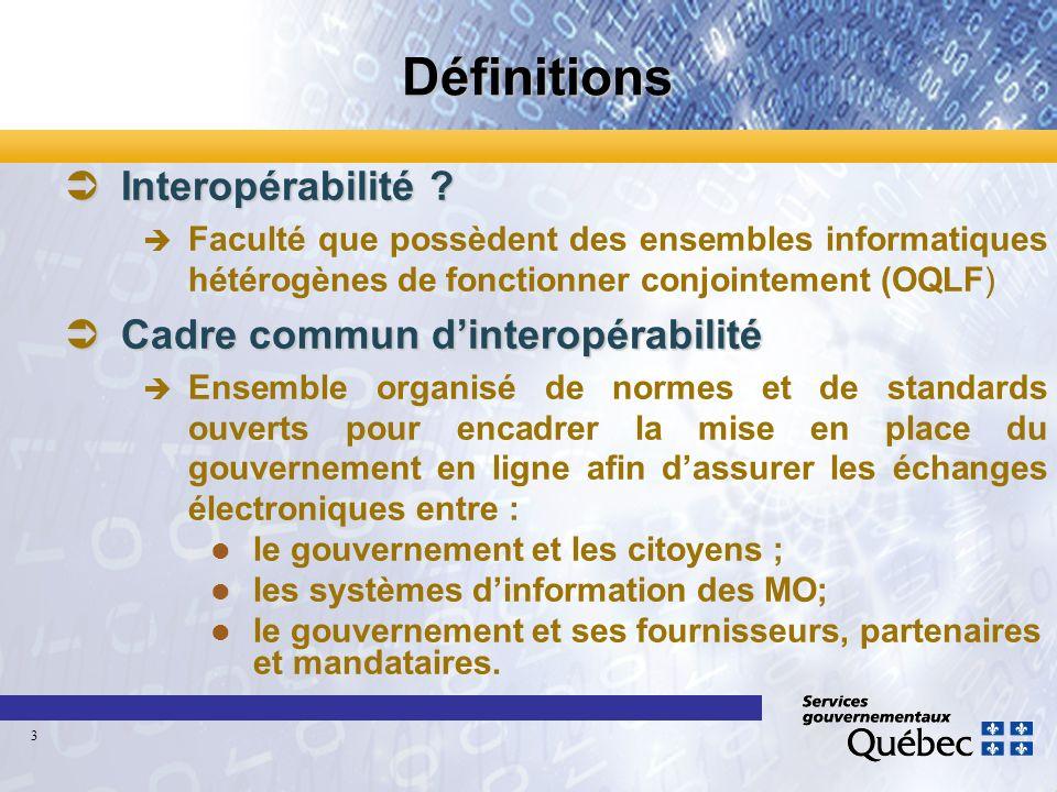 Définitions ÜInteropérabilité ? è Faculté que possèdent des ensembles informatiques hétérogènes de fonctionner conjointement (OQLF) ÜCadre commun dint