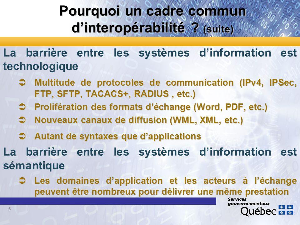 Pourquoi un cadre commun dinteropérabilité ? (suite) La barrière entre les systèmes dinformation est technologique ÜMultitude de protocoles de communi