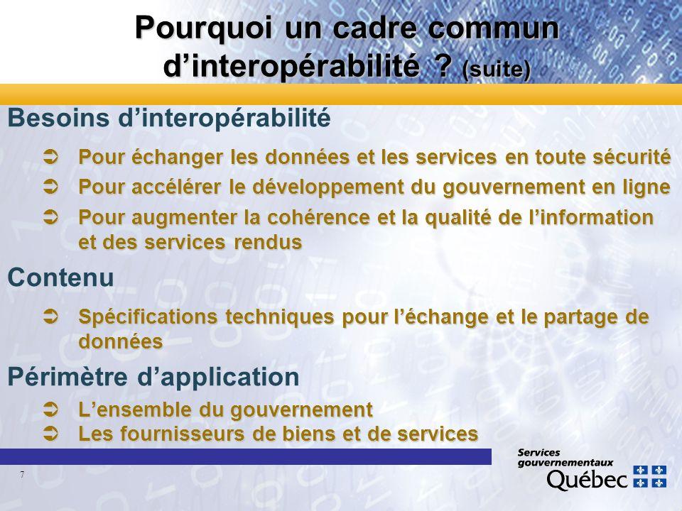 Pourquoi un cadre commun dinteropérabilité ? (suite) Besoins dinteropérabilité ÜPour échanger les données et les services en toute sécurité ÜPour accé