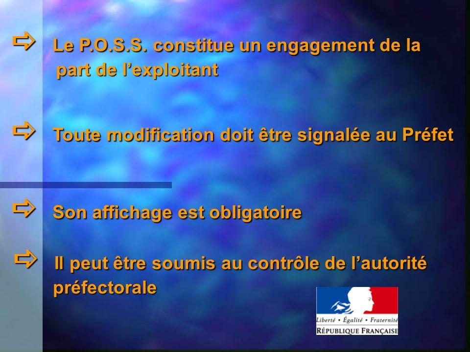 Le P.O.S.S. constitue un engagement de la Le P.O.S.S. constitue un engagement de la part de lexploitant part de lexploitant Toute modification doit êt